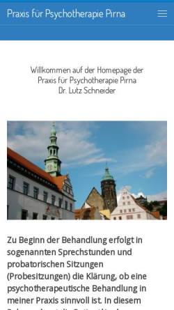 Vorschau der mobilen Webseite www.psychotherapie-schneider.de, Praxis für ärztliche Psychotherapie - Dr. Lutz Schneider