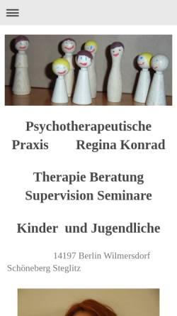 Vorschau der mobilen Webseite www.reginakonrad.de, Psychoanalyse und Tiefenpsychologisch fundierte Psychotherapie - Regina Konrad
