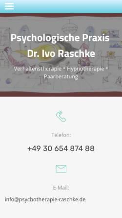 Vorschau der mobilen Webseite www.psychotherapie-koepenick.de, Psychologische Praxis für Verhaltenstherapie und Hypnotherapie Dr. Ivo Raschke