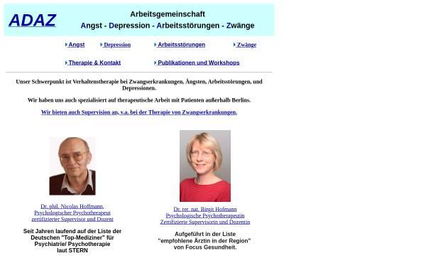 Vorschau von www.agadaz.de, Verhaltenstherapie - Dr. rer. nat. Birgit Hofmann, Dr. phil. Pia Engl & Dr. phil. Nicolas Hoffmann