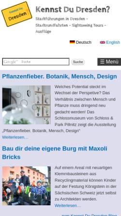 Vorschau der mobilen Webseite www.kennst-du-dresden.de, Stadtführer