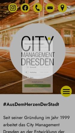 Vorschau der mobilen Webseite www.citymanagement-dresden.de, City Management