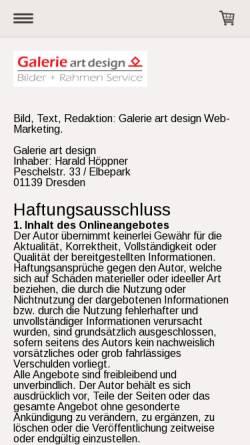 Vorschau der mobilen Webseite www.galerieartdesign.de, Dresden-Bilder