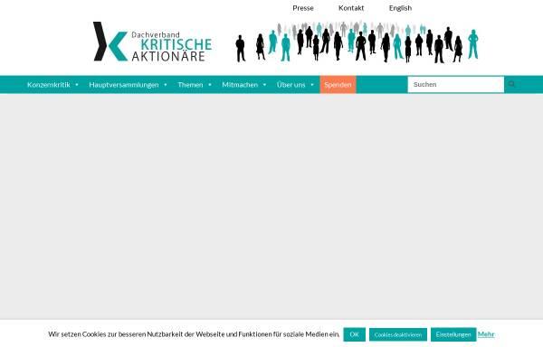 Vorschau von www.kritischeaktionaere.de, Dachverband der kritischen Aktionärinnen und Aktionäre e.V.