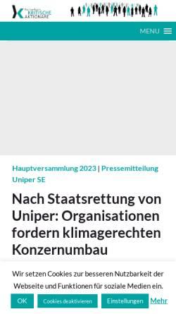 Vorschau der mobilen Webseite www.kritischeaktionaere.de, Dachverband der kritischen Aktionärinnen und Aktionäre e.V.