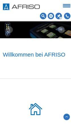 Vorschau der mobilen Webseite www.afriso.de, AFRISO Euro-Index GmbH