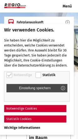 Vorschau der mobilen Webseite www.regio-bahn.de, Regiobahn mbH