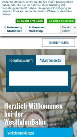 Vorschau der mobilen Webseite www.westfalenbahn.de, WestfalenBahn GmbH