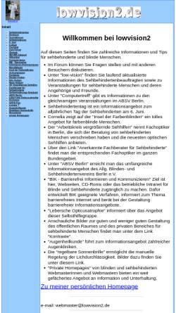 Vorschau der mobilen Webseite www.lowvision2.de, Informationen für sehbehinderte und blinde Menschen