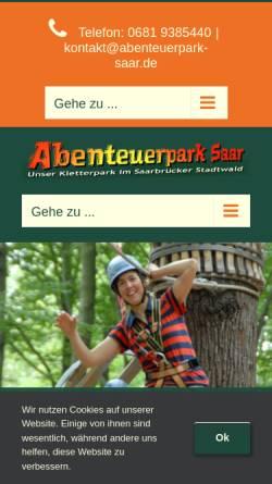 Vorschau der mobilen Webseite www.abenteuerpark-saar.de, Hochseilgarten Abenteuerpark Saar Stadtwald