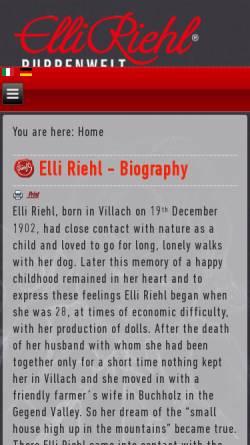 Vorschau der mobilen Webseite www.elli-riehl-puppenwelt.at, Puppenwelt Elli Riehl