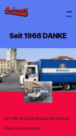 Vorschau der mobilen Webseite www.bierauswahl.de, Ambrosetti - Berlins grosse Bierauswahl