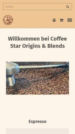 Vorschau der mobilen Webseite www.coffeestar.net, Coffee Star Kaffeerösterei Berlin