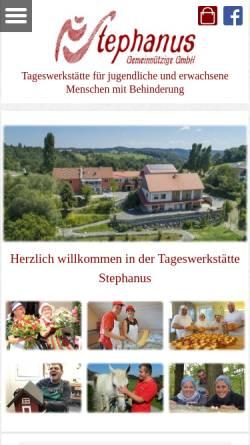 Vorschau der mobilen Webseite www.tageswerkstaette-stephanus.at, Tageswerkstätte Stephanus