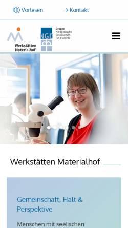 Vorschau der mobilen Webseite www.materialhof.de, Werkstätten Materialhof