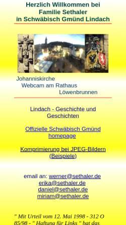 Vorschau der mobilen Webseite www.sethaler.de, Familie Sethaler - Schwäbisch Gmünd Lindach