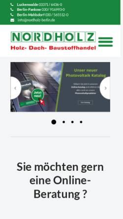 Vorschau der mobilen Webseite www.nordholz-berlin.de, HFM Nordholz Handelsgesellschaft mbH