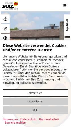 Vorschau der mobilen Webseite www.sulz.de, Stadt Sulz
