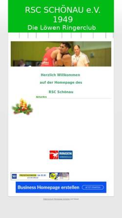Vorschau der mobilen Webseite www.rsc-schoenau.de.rs, Ring und Stemmclub 1949 Schönau e.V.