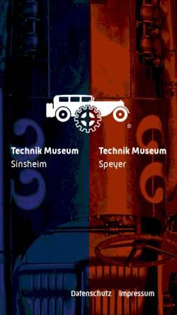 Vorschau der mobilen Webseite www.technik-museum.de, Sinsheim und Speyer, Auto- und Technik-Museen
