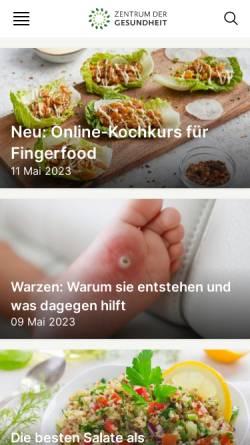 Vorschau der mobilen Webseite www.zentrum-der-gesundheit.de, Zentrum der Gesundheit