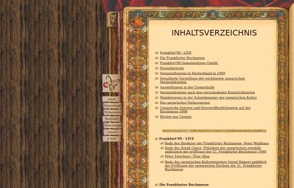 Vorschau von www.frankfurt.matav.hu, Frankfurter Buchmesse 1999 - Schwerpunkt Ungarn