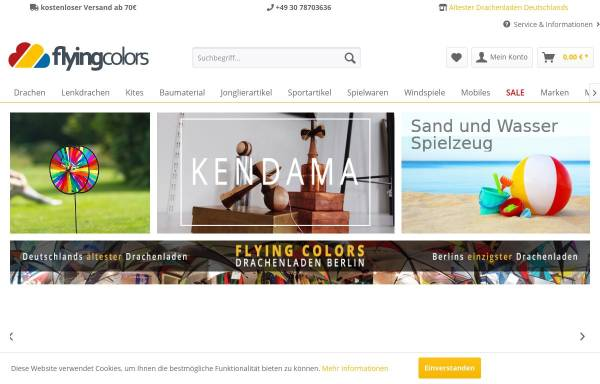 Vorschau von www.flying-colors.de, Flying Colors Drachen, Jonglieren und Freizeitartikel GmbH