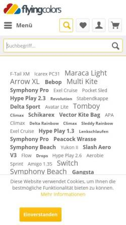 Vorschau der mobilen Webseite www.flying-colors.de, Flying Colors Drachen, Jonglieren und Freizeitartikel GmbH