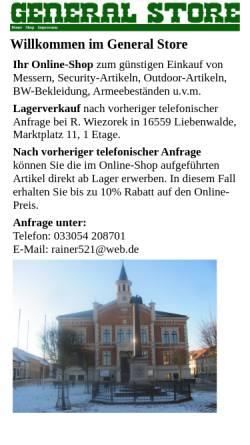 Vorschau der mobilen Webseite www.general-store.de, General Store