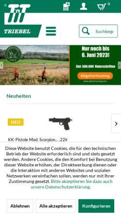 Vorschau der mobilen Webseite www.triebel.de, Triebel Waffen GmbH