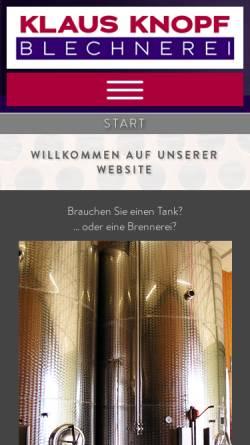 Vorschau der mobilen Webseite www.knopf-tank.de, Blechnerei-Apparatebau Klaus Knopf
