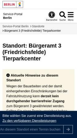 Vorschau der mobilen Webseite service.berlin.de, Bärenschaufenster - Center am Tierpark