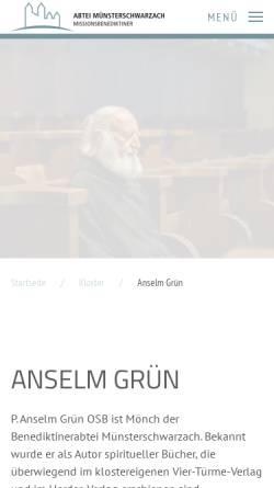 Vorschau der mobilen Webseite www.anselm-gruen.de, Grün, P. Anselm