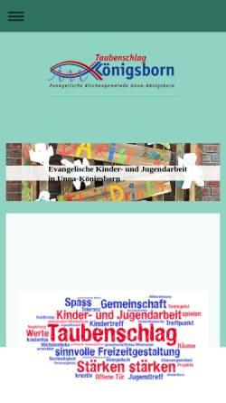 Vorschau der mobilen Webseite taubenschlag-koenigsborn.de, Kinder- und Jugendhaus Taubenschlag