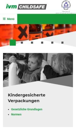 Vorschau der mobilen Webseite www.ivm-childsafe.de, IVM Institut Verpackungsmarktforschung, Inh. Dr. Horst Antonischki