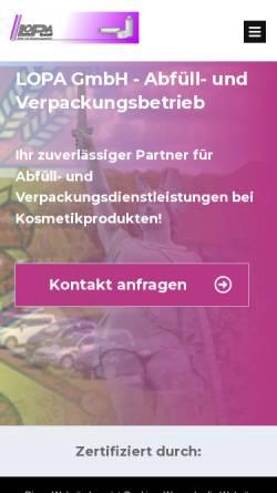 Vorschau der mobilen Webseite lopa-gmbh.de, Lopa GmbH