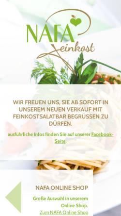 Vorschau der mobilen Webseite www.nafa.de, Nafa Feinkost GmbH
