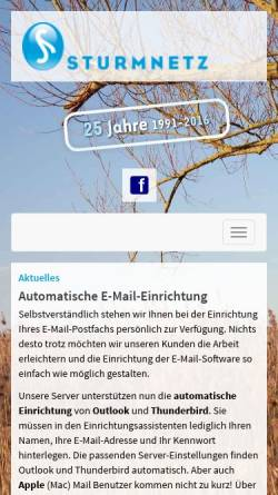 Vorschau der mobilen Webseite www.sturmnetz.de, Sturm GmbH