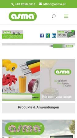 Vorschau der mobilen Webseite www.asma.at, ASMA Polyurethane Kunststoff KG