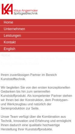 Vorschau der mobilen Webseite www.angermaier-gmbh.de, Klaus Angermaier Spritzgießtechnik GmbH