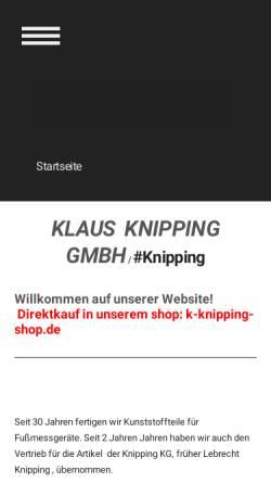 Vorschau der mobilen Webseite www.k-knipping.de, Knipping GmbH Kunststofftechnik