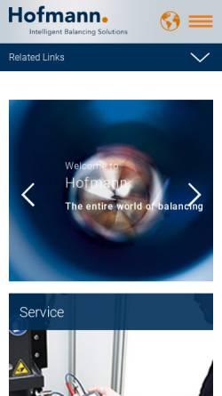 Vorschau der mobilen Webseite www.auswuchttechnik.de, HOFMANN Mess- und Auswuchttechnik GmbH & Co.KG