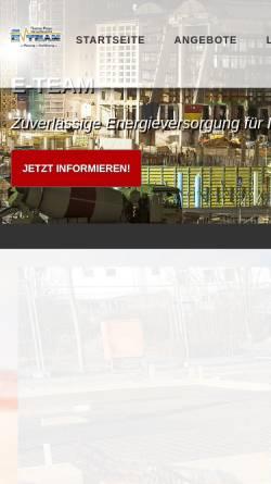 Vorschau der mobilen Webseite www.eteam.de, NDT Pleger Systems, Inh. Thomas Pleger