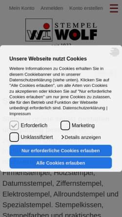 Vorschau der mobilen Webseite www.stempel-wolf.de, Stempel-Wolf GmbH