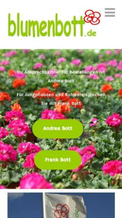 Vorschau der mobilen Webseite blumenbott.de, Gärtnerei Frank Bott