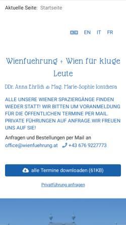 Vorschau der mobilen Webseite www.wienfuehrung.com, Wienführung von und mit DDr. Anna Ehrlich