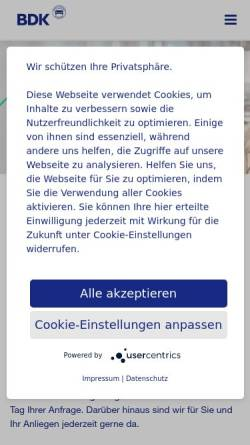 Vorschau der mobilen Webseite www.bdk-bank.de, Bank Deutsches Kraftfahrzeuggewerbe AG