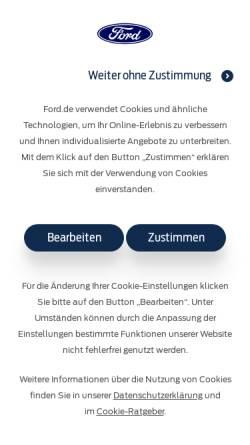 Vorschau der mobilen Webseite www.ford.de, Ford Bank by FCE Bank Plc