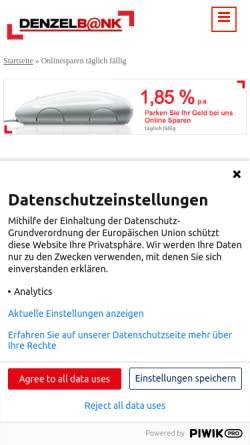 Vorschau der mobilen Webseite www.denzelbank.at, Wolfgang Denzel AG