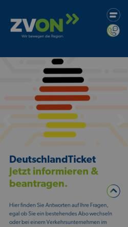 Vorschau der mobilen Webseite www.zvon.de, ZVON - Zweckverband Verkehrsverbund Oberlausitz-Niederschlesien